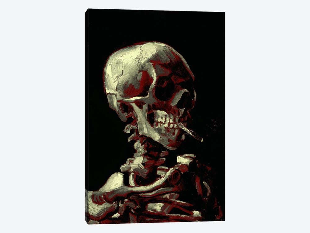 Dark Hue Skull With Cigarette by 5by5collective 1-piece Canvas Print