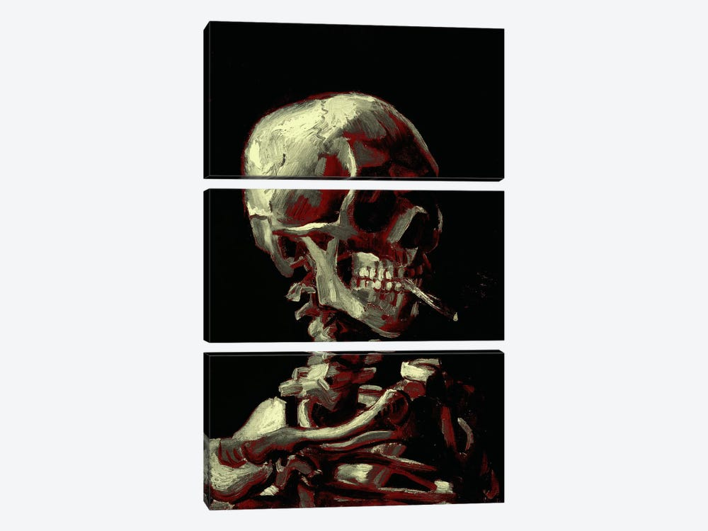 Dark Hue Skull With Cigarette by 5by5collective 3-piece Art Print