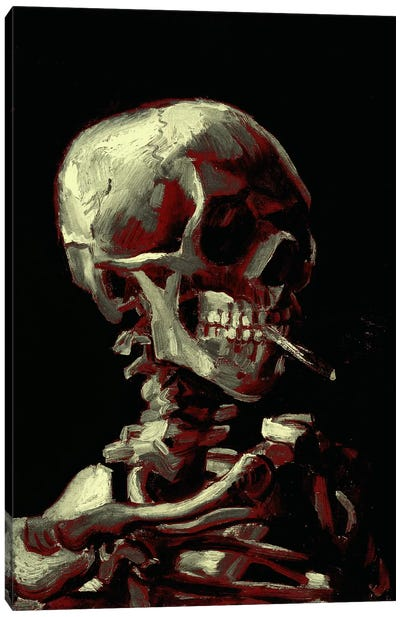 Dark Hue Skull With Cigarette Canvas Art Print