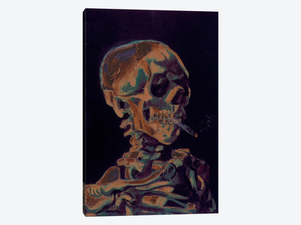 Copper Skull With Cigarette by 5by5collective 1-piece Canvas Wall Art
