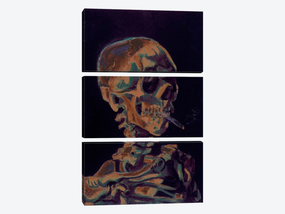 Copper Skull With Cigarette by 5by5collective 3-piece Canvas Artwork