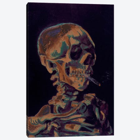 Copper Skull With Cigarette Canvas Print #ICA1025} by 5by5collective Canvas Artwork
