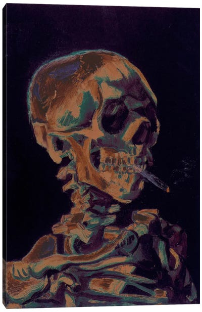 Copper Skull With Cigarette Canvas Art Print
