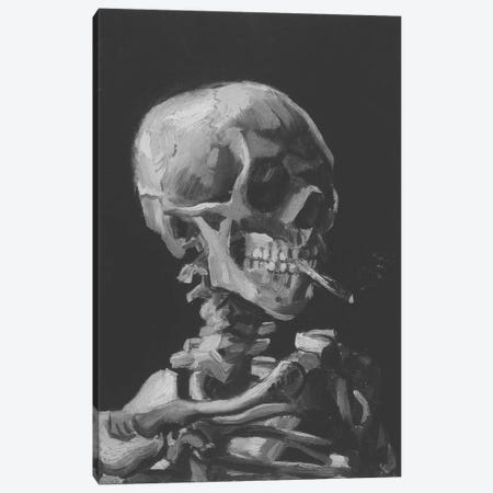 Sketch of Skull With Cigarette Canvas Print #ICA1026} by 5by5collective Canvas Wall Art