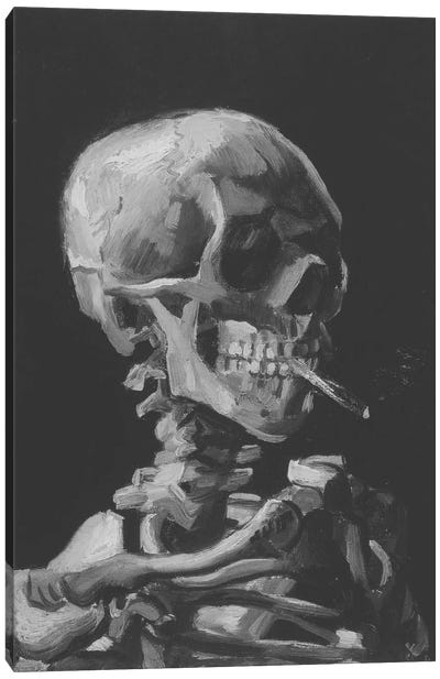 Sketch of Skull With Cigarette Canvas Art Print