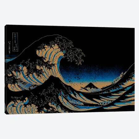 Great Wave at Night Canvas Print #ICA1027} by 5by5collective Canvas Artwork
