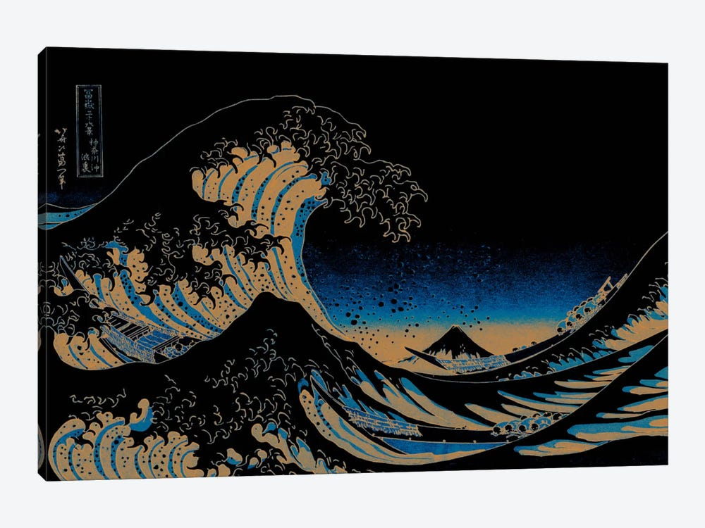 Great Wave at Night by 5by5collective 1-piece Canvas Wall Art