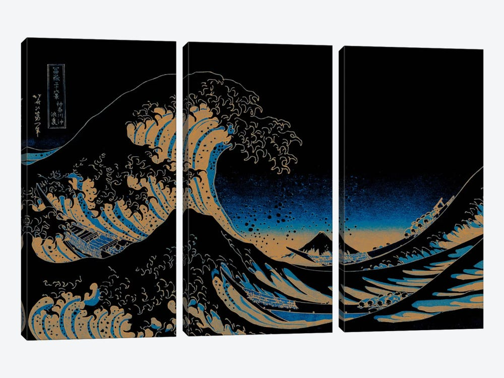 Great Wave at Night by 5by5collective 3-piece Canvas Artwork