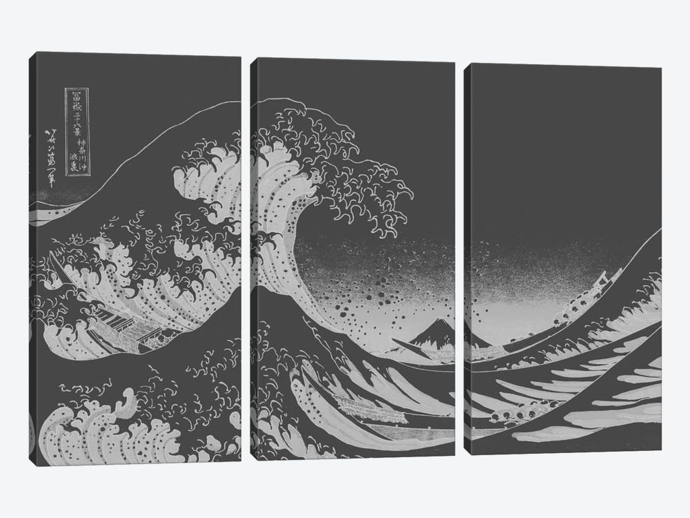 Sketch of Great Wave by 5by5collective 3-piece Canvas Art Print