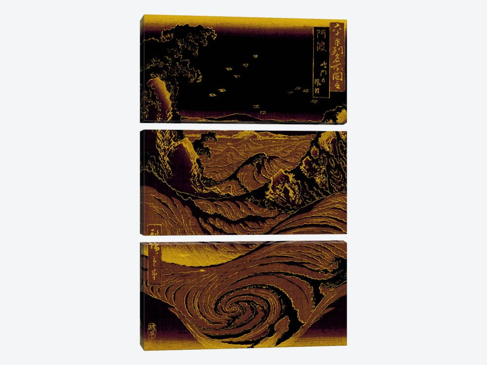 Gold Leaf Crashing Waves by 5by5collective 3-piece Canvas Art