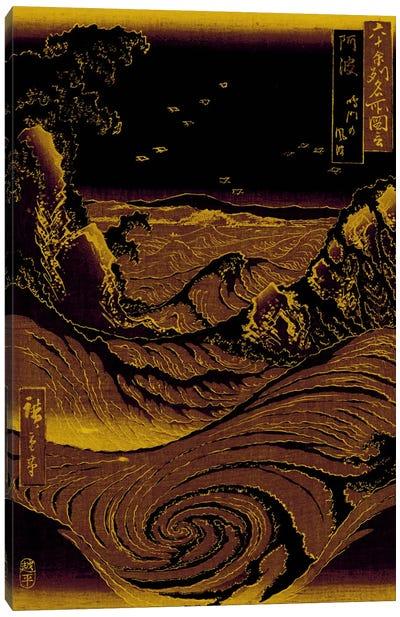 Gold Leaf Crashing Waves Canvas Art Print