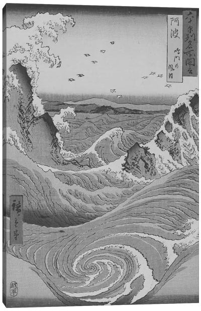 Sketch of Crashing Waves Canvas Print #ICA1036