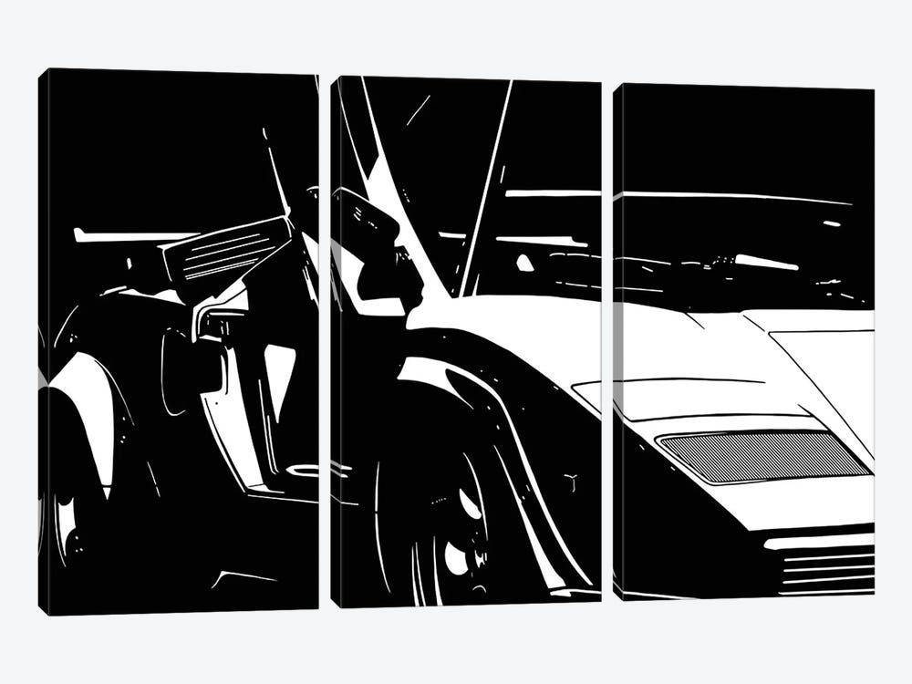 Sleek and Retro White by 5by5collective 3-piece Canvas Art Print