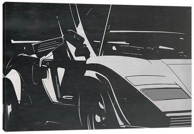 Sleek and Retro Brushed Aluminum Canvas Art Print