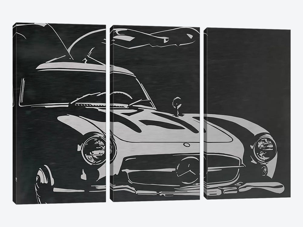 Vintage Wings Brushed Aluminum by 5by5collective 3-piece Canvas Print