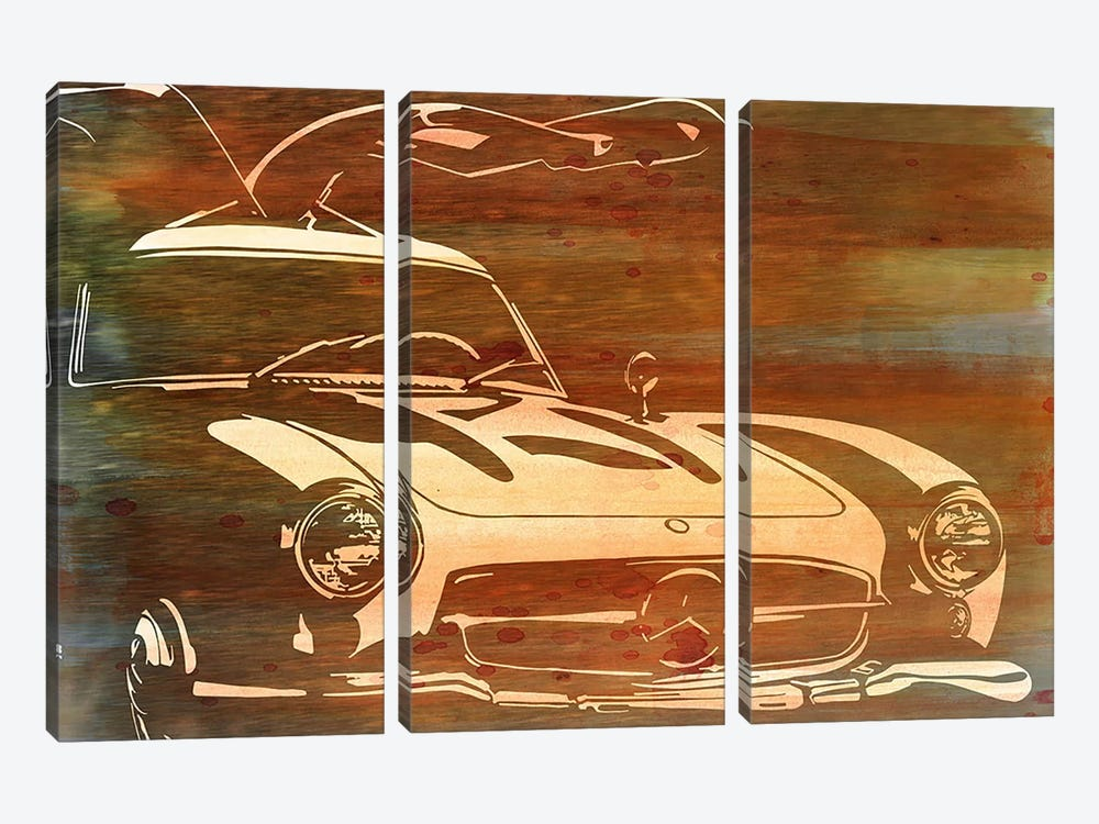 Vintage Wings Brushed Orange Aluminum 3-piece Canvas Art