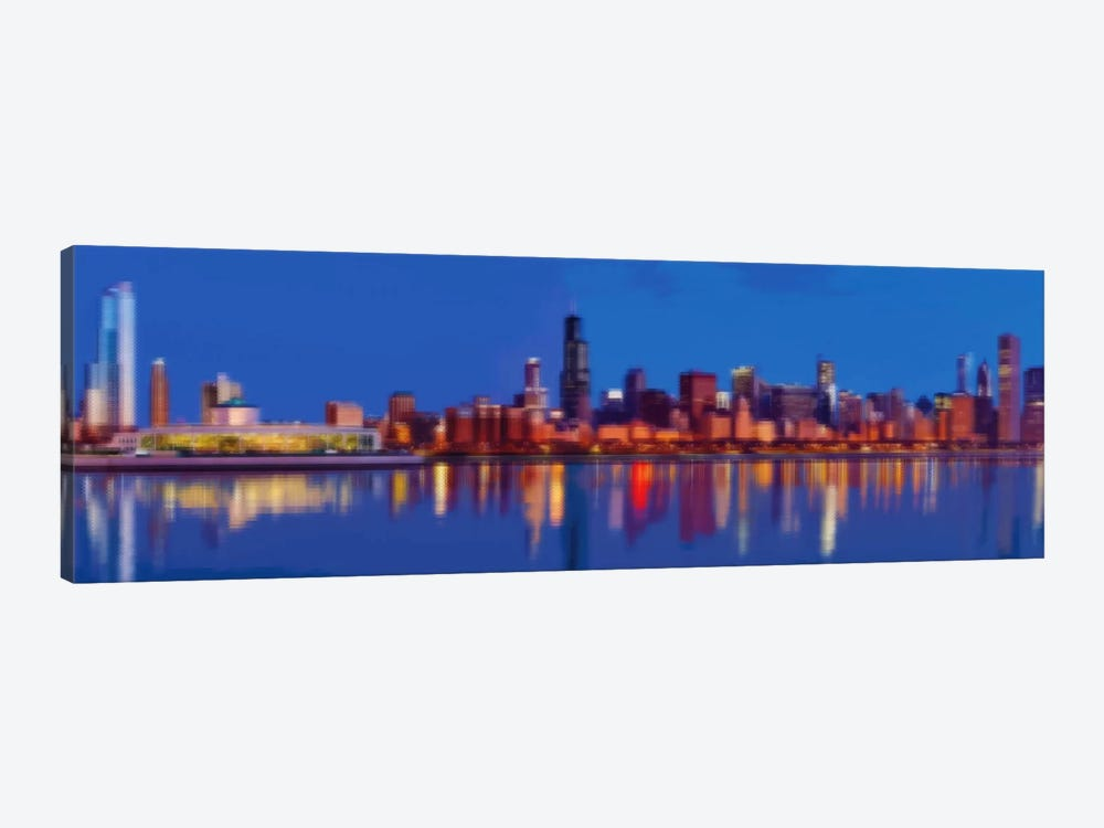 Cross Stitched Chicago Landscape 1-piece Canvas Print