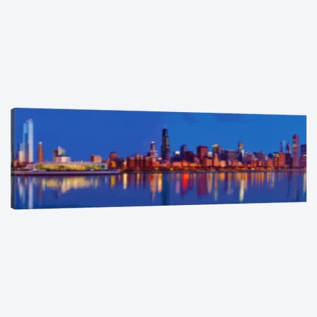 Cross Stitched Chicago Landscape Canvas Print #ICA104} by Unknown Artist Canvas Artwork