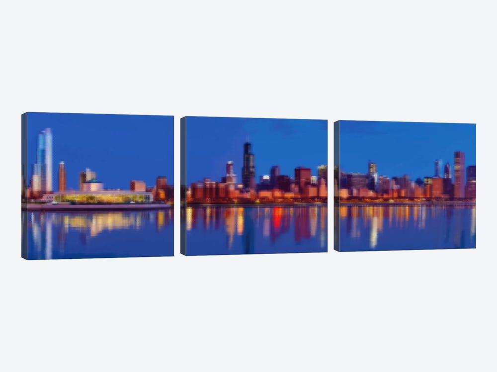 Cross Stitched Chicago Landscape by Unknown Artist 3-piece Canvas Art Print