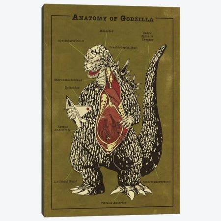 Godzilla Anatomy Diagram Canvas Print #ICA1052} by 5by5collective Canvas Artwork