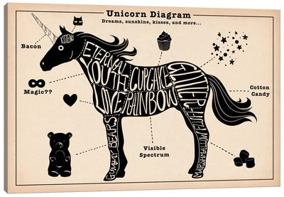 Unicorn Anatomy Diagram #2 Canvas Art Print