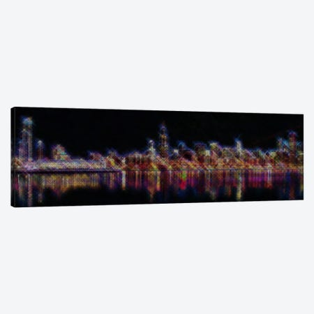 Cross Stitched Chicago Landscape at Night 3-Piece Canvas #ICA105} by Unknown Artist Canvas Wall Art