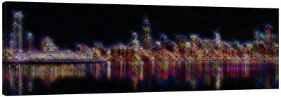 Cross Stitched Chicago Landscape at Night Canvas Art Print