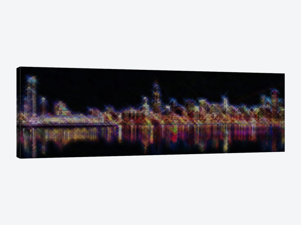 Cross Stitched Chicago Landscape at Night by Unknown Artist 1-piece Canvas Artwork