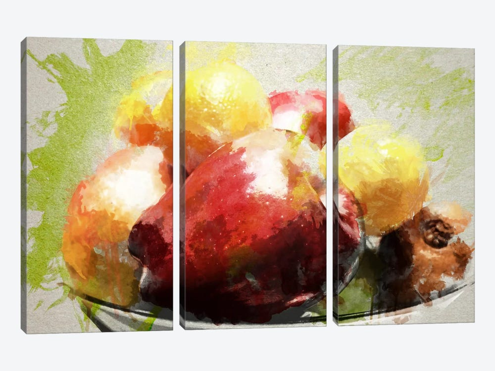 Watercolor Still Life by Unknown Artist 3-piece Canvas Wall Art