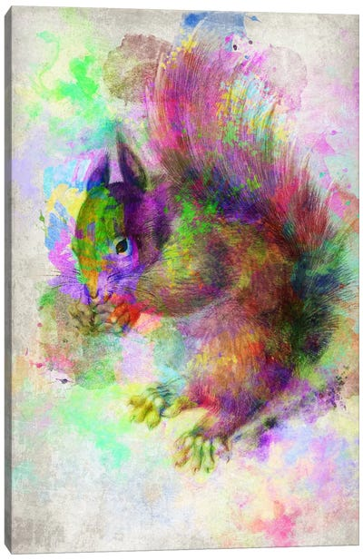 Watercolor Squirel Canvas Art Print