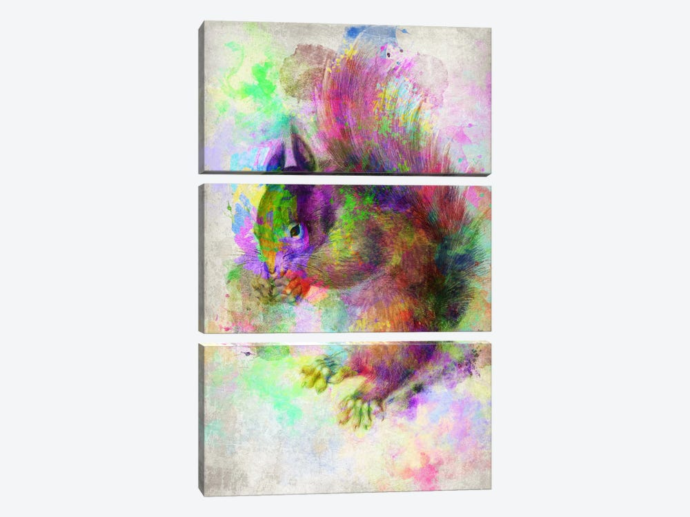 Watercolor Squirel 3-piece Canvas Print