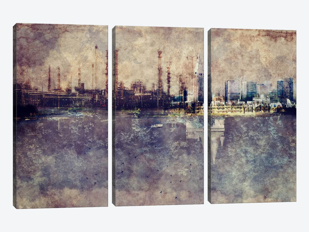 City in Smog 3-piece Canvas Artwork
