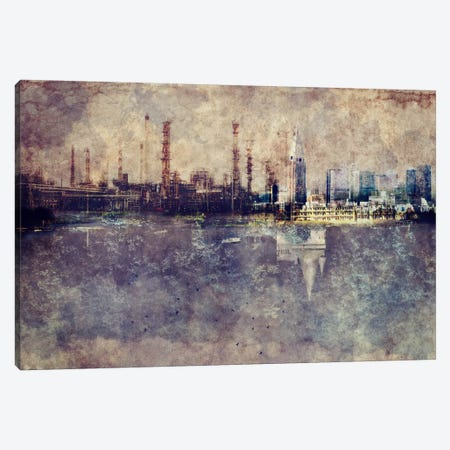 City in Smog 3-Piece Canvas #ICA1117} by Unknown Artist Canvas Wall Art