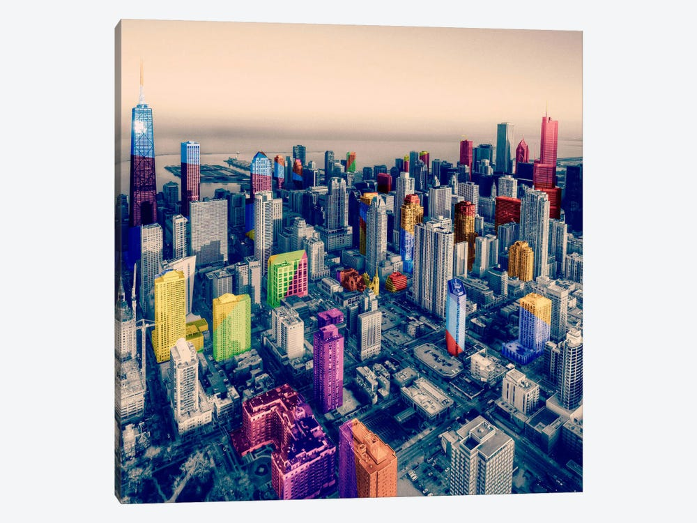 Chicago City Pop by iCanvas 1-piece Canvas Art
