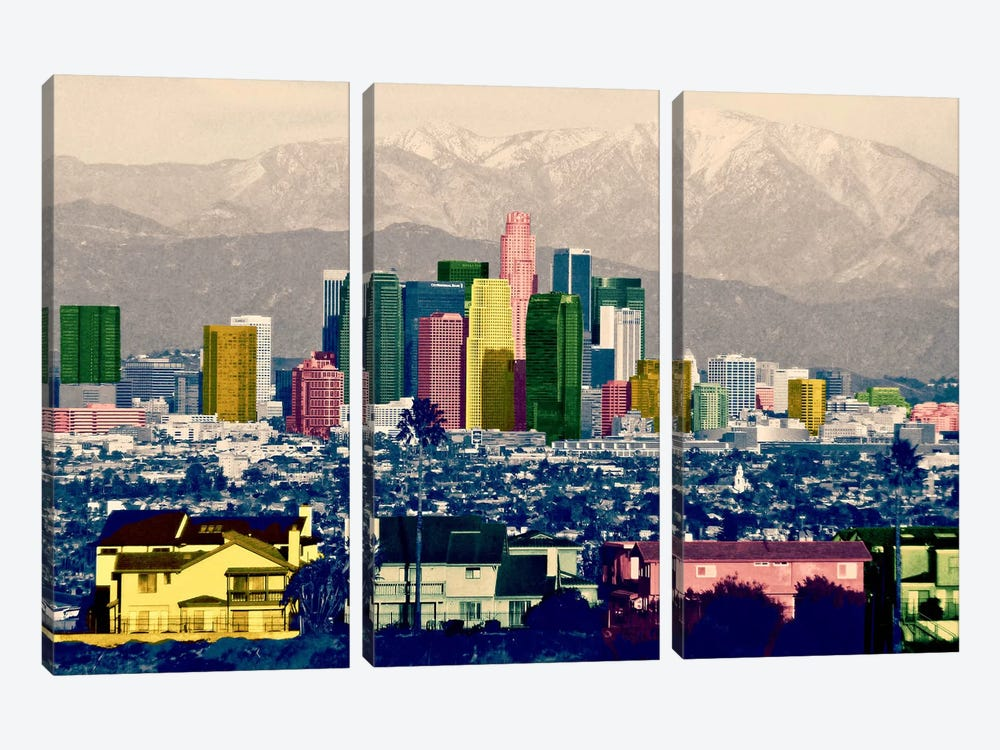 Los Angeles City Pop by iCanvas 3-piece Canvas Wall Art