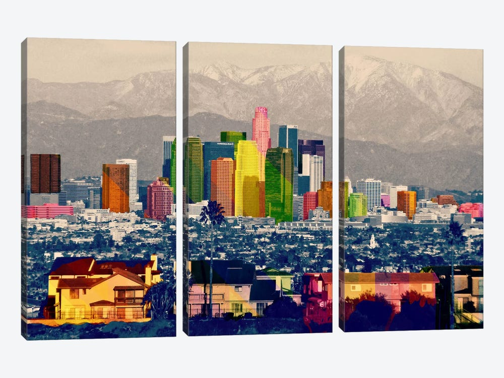 Los Angeles City Pop 2 by Unknown Artist 3-piece Art Print