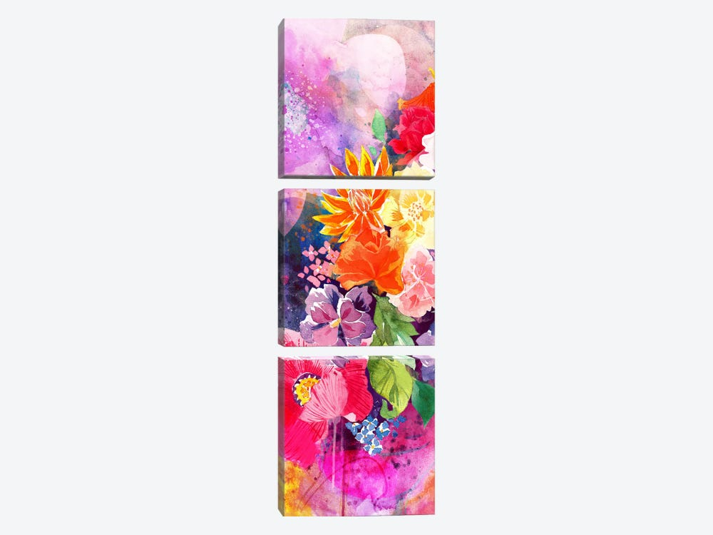 Summer Blossoms Panoramic 3-piece Art Print