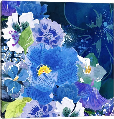 Midnight Flowers #2 Canvas Art Print