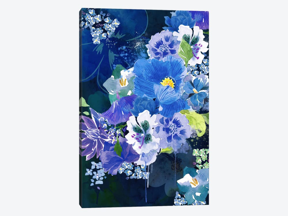 Midnight Flowers by 5by5collective 1-piece Canvas Artwork