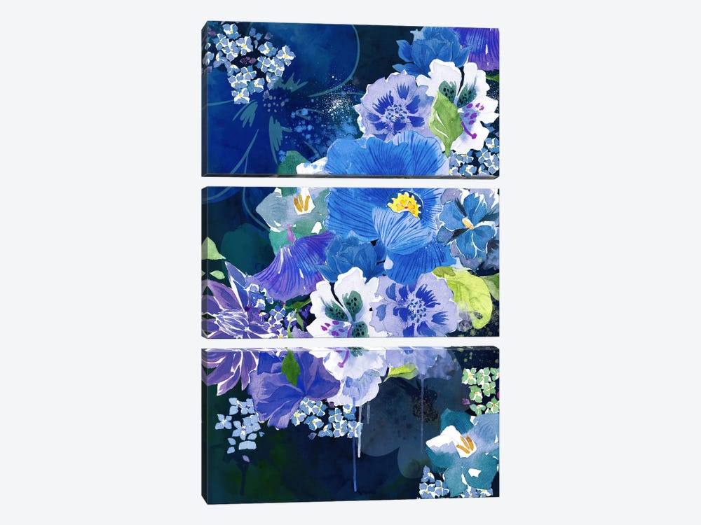 Midnight Flowers by 5by5collective 3-piece Canvas Wall Art