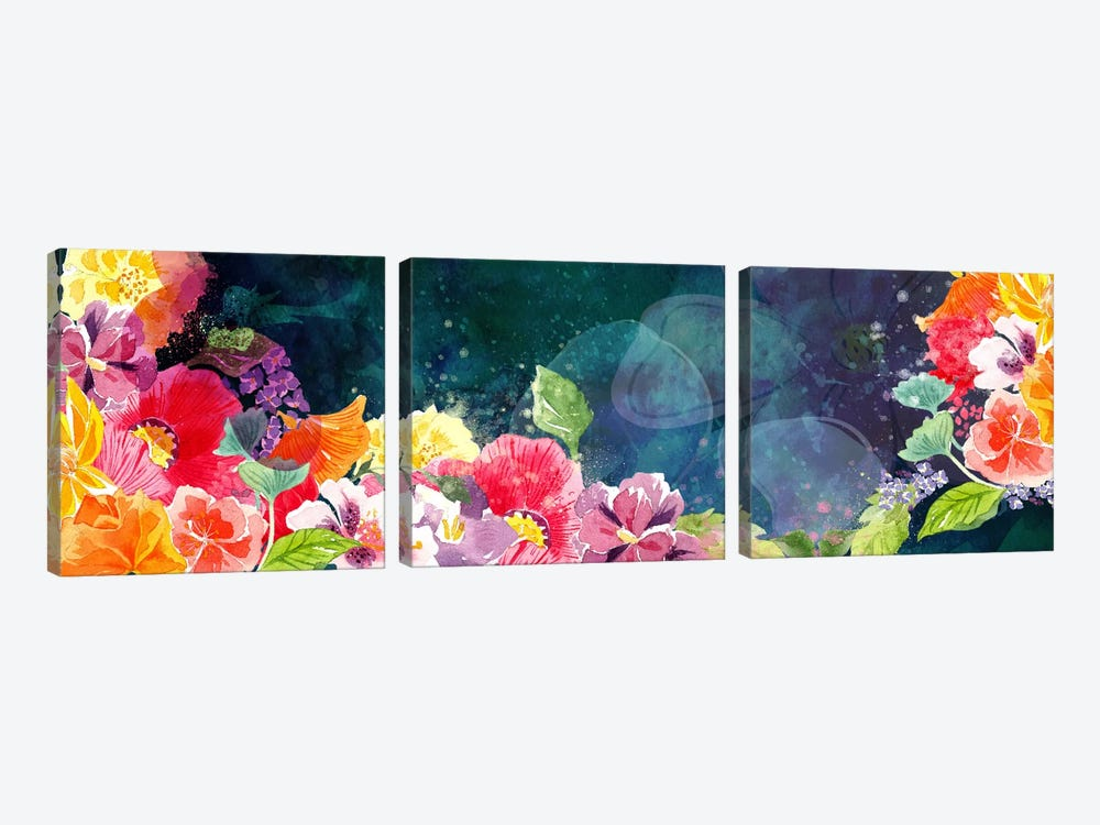 Flourishing Flowers by 5by5collective 3-piece Canvas Art Print