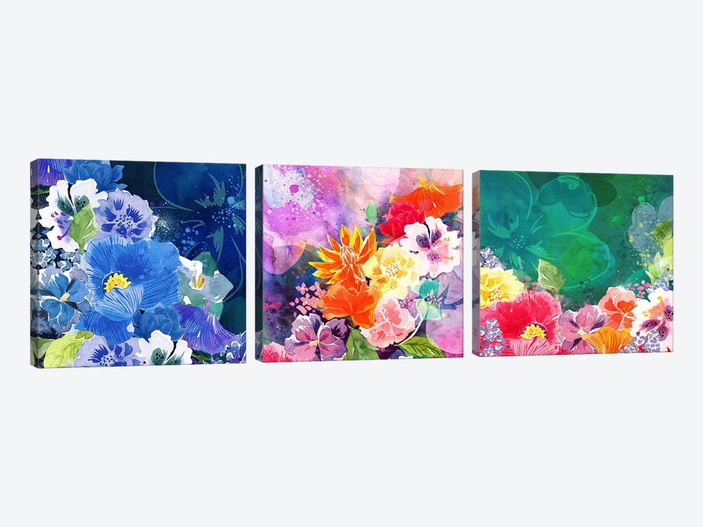 Joyous Blossoms by 5by5collective 3-piece Canvas Art