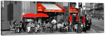 Cafe, Paris, France Color Pop Canvas Art Print