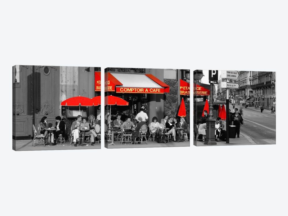 Cafe, Paris, France Color Pop by Panoramic Images 3-piece Canvas Artwork