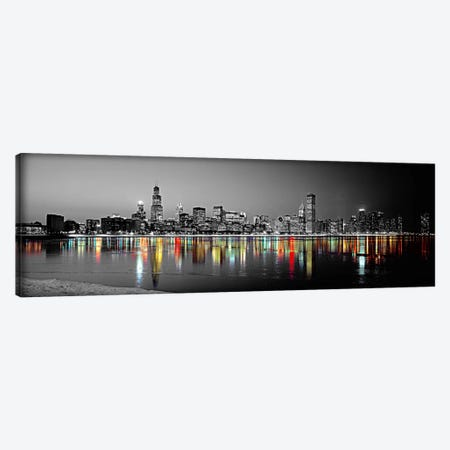 Skyline at Night with Color Pop Lake Michigan Reflection, Chicago, Cook County, Illinois, USA Canvas Print #ICA1183} by Panoramic Images Canvas Wall Art