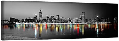 Skyline at Night with Color Pop Lake Michigan Reflection, Chicago, Cook County, Illinois, USA Canvas Art Print