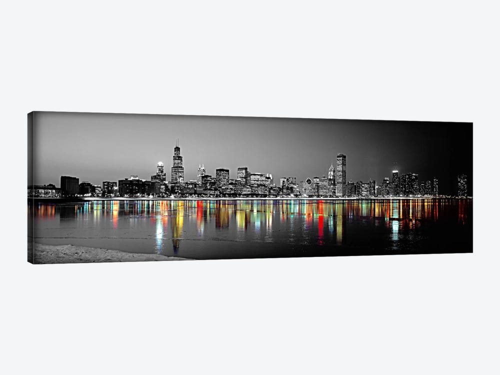 Skyline at Night with Color Pop Lake Michigan Reflection, Chicago, Cook County, Illinois, USA 1-piece Canvas Print