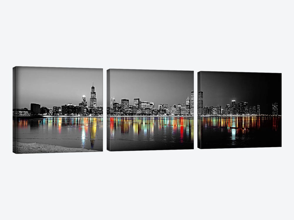 Skyline at Night with Color Pop Lake Michigan Reflection, Chicago, Cook County, Illinois, USA by Panoramic Images 3-piece Art Print