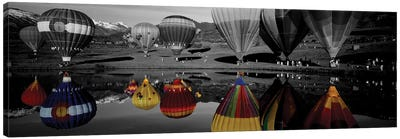 Reflection of hot air balloons in a lake, Snowmass Village, Pitkin County, Colorado, USA Color Pop Canvas Art Print