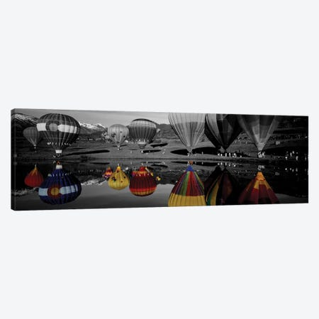 Reflection of hot air balloons in a lake, Snowmass Village, Pitkin County, Colorado, USA Color Pop 3-Piece Canvas #ICA1192} by Panoramic Images Canvas Art Print